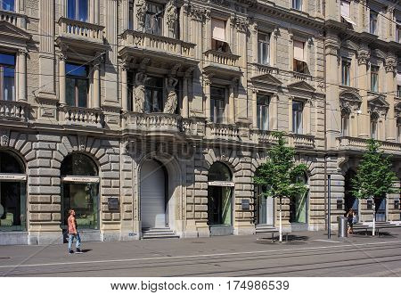 Zurich, Switzerland - 14 May, 2015: building along Bahnhofstrasse street. Bahnhofstrasse is Zurich's main downtown street and one of the world's most expensive and exclusive shopping avenues.