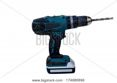 old battery-powered electric drill isolate on white background with clippingpath