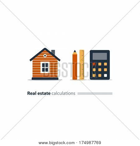 Housekeeping calculation icon, detached home, real estate appraisal, property investment, mortgage assessment, vector illustration