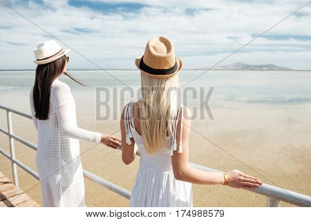 Back view of two beautiful young women in hats standing on pier and enjoying the view