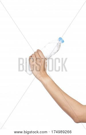 woman hand with bottle of water on white background
