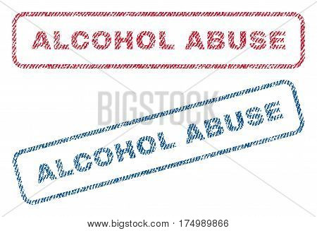 Alcohol Abuse text textile seal stamp watermarks. Blue, red fabric vectorized texture. Vector caption inside rounded rectangular shape. Rubber emblem with fiber textile structure.