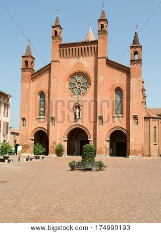 Alba, Italy - 12 July 2012: Cathedral San Lorenzo at Alba on Piedmont, Italy