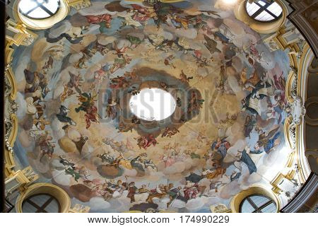 Alba, Italy - 12 July 2012: Dome of Maddalena church at Alba on Piedmont Italy