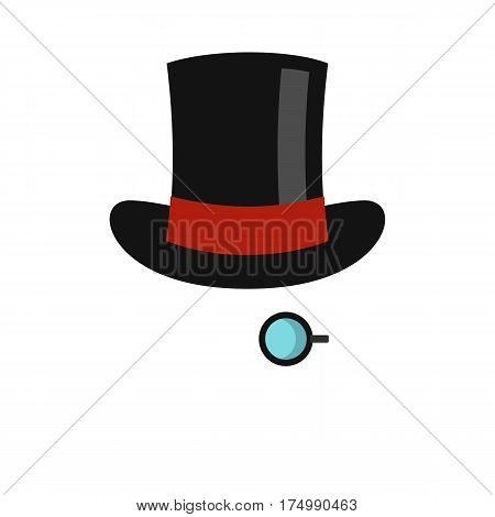 Hat with monocle icon isolated on white background vector illustration
