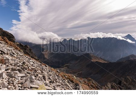 Amazing autumnal view of mountains. Tatry .