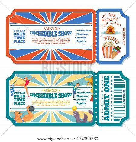 Circus magic show entrance tickets templates. Vector illustration.