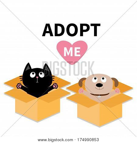 Adopt me. Dont buy. Dog Cat inside opened cardboard package box. Ready for a hug. Puppy pooch kitten cat looking up to pink heart. Pet adoption Flat design Help animal concept White background. Vector