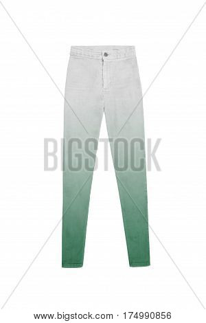Women's High Waist Gradient Jeans Pants In Gray And Green, Isolated On White Background