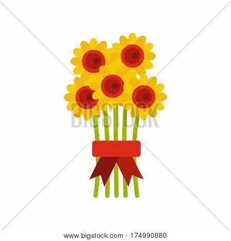 Bouquet of flowers icon isolated on white background vector illustration