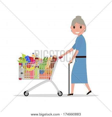 Vector illustration cartoon old woman with a shopping trolley full of groceries. Grandmother in the supermarket to buy food, meal and drinks. Side view. Flat style. Elderly with shopping cart.