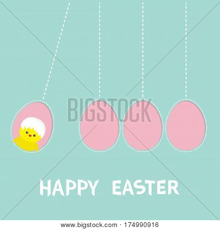Happy Easter text. Hanging pink painting egg set. Chicken bird with shell. Dash line. Perpetual motion mobile. Greeting card. Flat design style. Cute decoration element. Vector illustration