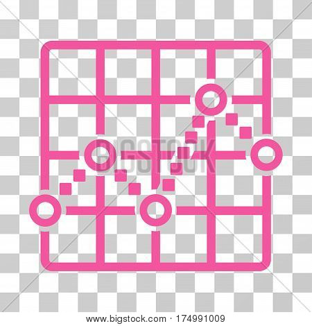 Line Plot icon. Vector illustration style is flat iconic symbol, pink color, transparent background. Designed for web and software interfaces.