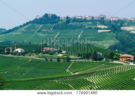 La Morra, Italy - 16 July 2010: The Village of La Morra in Piedmont,Italy