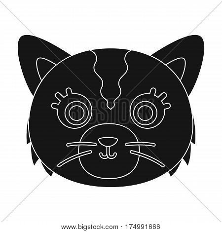 Cat muzzle icon in black design isolated on white background. Animal muzzle symbol stock vector illustration.