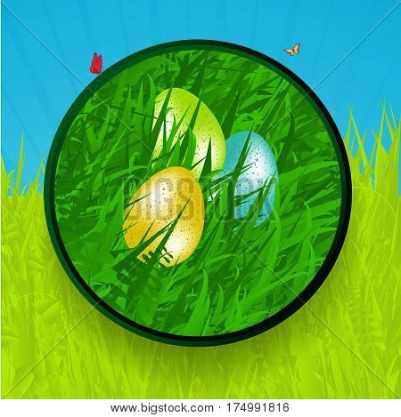 Easter Green Border with Eggs Grass and Butterfly Over Grass and Sky Background