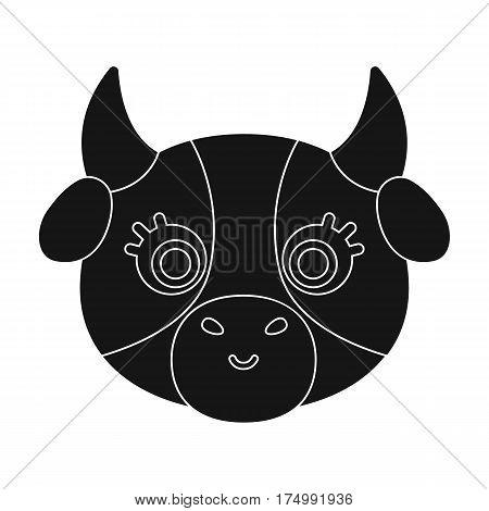 Cow muzzle icon in black design isolated on white background. Animal muzzle symbol stock vector illustration.