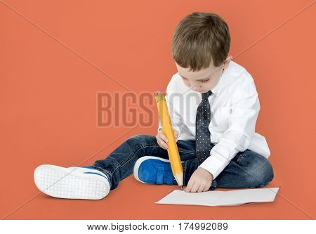 Caucasian Boy Focused Concentrated Play