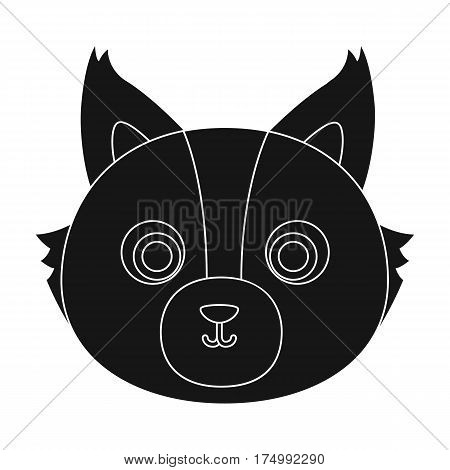 Wolf muzzle icon in black design isolated on white background. Animal muzzle symbol stock vector illustration.