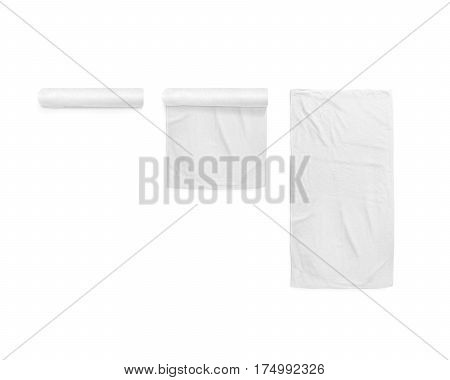 Black white soft beach towel mockup set. Clear folded and unfolded wiper mock up laying on the floor. Shaggy fur bath textured jack-towel top view. Domestic cloth kitchen overlay template wrapped.