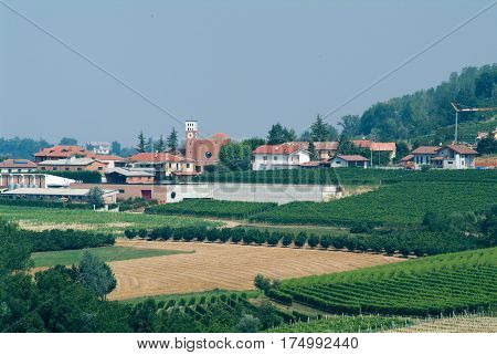 Vergne, Italy - 3 July 2011: The Village of Vergne in Piedmont, Italy