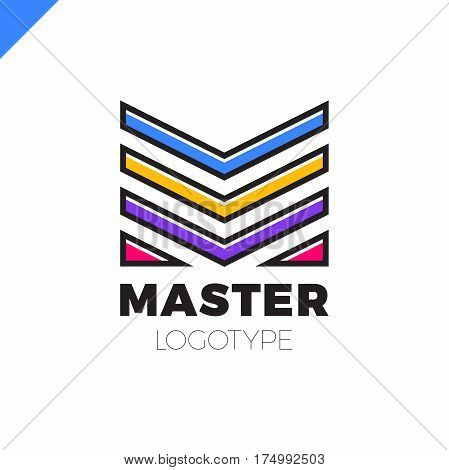 Letter M Logo Sign. Abstract Business Design Logotype Vector