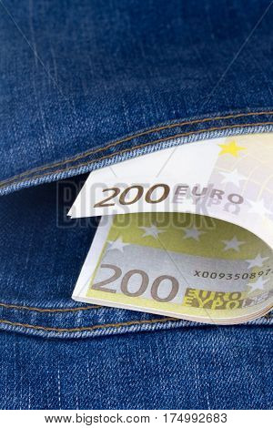Euro Banknotes On Pocket
