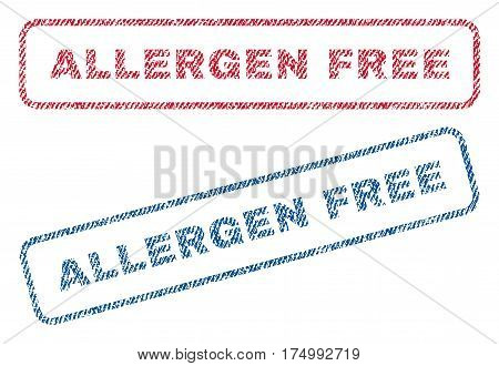 Allergen Free text textile seal stamp watermarks. Blue, red fabric vectorized texture. Vector caption inside rounded rectangular shape. Rubber emblem with fiber textile structure.