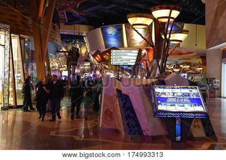UNCASVILLE, CT - FEB 18: Mohegan Sun Casino and Hotel in Uncasville, CT, as seen on Feb 18, 2017. It is one of the largest casinos in the United States with 364,000 square feet of gaming space.