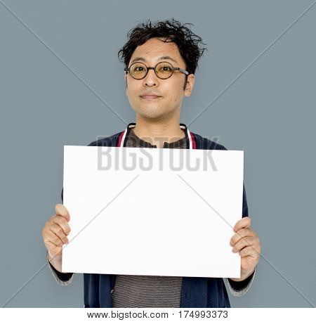 Asian Portrait Holding Blank Paper