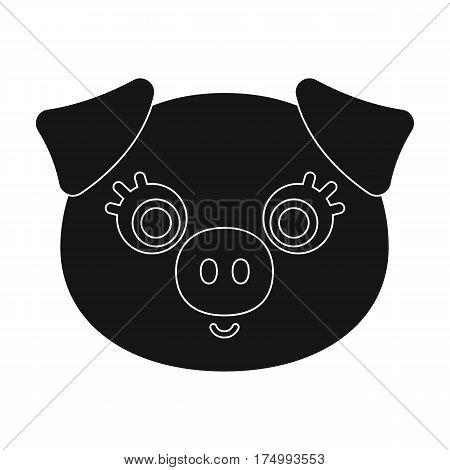 Pig muzzle icon in black design isolated on white background. Animal muzzle symbol stock vector illustration.