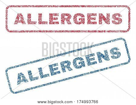 Allergens text textile seal stamp watermarks. Blue, red fabric vectorized texture. Vector tag inside rounded rectangular banner. Rubber emblem with fiber textile structure.