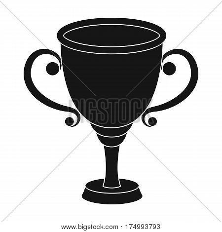 Gold Cup for the first place.The award winner of the racing competition.Awards and trophies single icon in black style vector symbol stock web illustration.