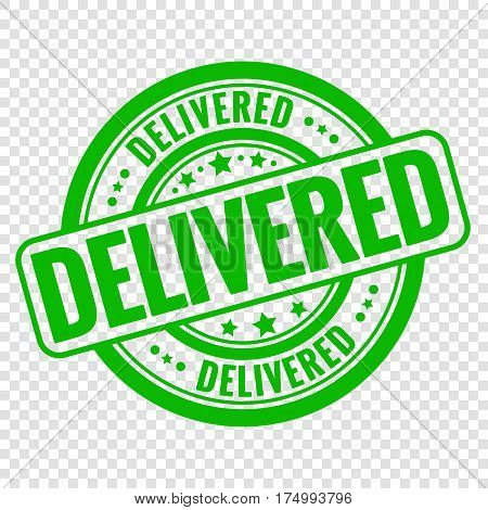 Vector delivered stamp isolated on transparent background