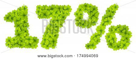 17 Saint Patrick's Day discount vector number made from little four-leaf clovers