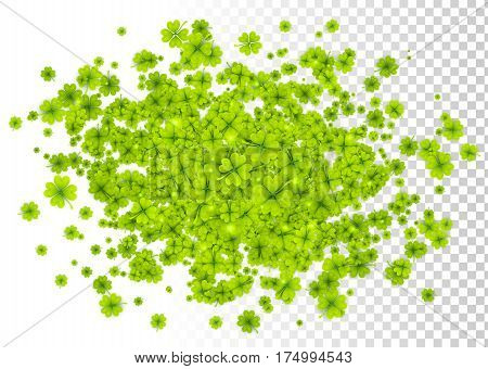 Vector green four-leaf clovers cloud splash isolated on white and transparent grid background