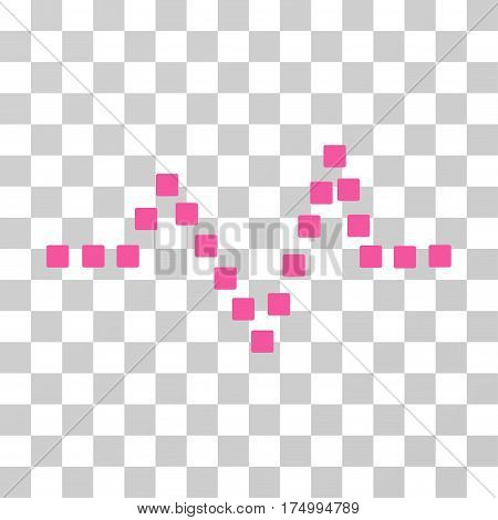 Pulse Chart icon. Vector illustration style is flat iconic symbol, pink color, transparent background. Designed for web and software interfaces.