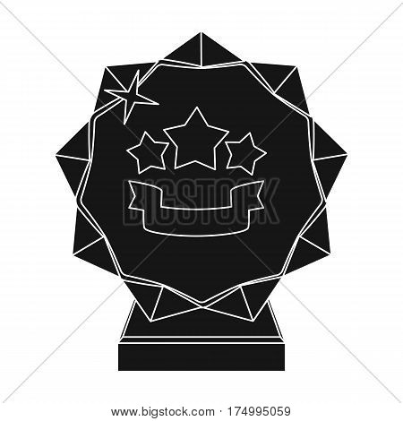 Crystal trophy in the shape of a star.Award for the best song in the talent contest .Awards and trophies single icon in black style vector symbol stock web illustration.
