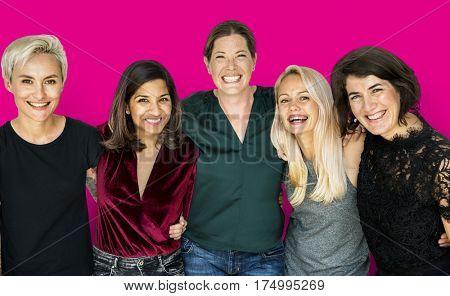Group of women feminism friends smiling positivity