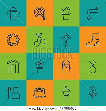 Set Of 16 Planting Icons. Includes Flowerpot, Grower, Bush Pot And Other Symbols. Beautiful Design Elements.