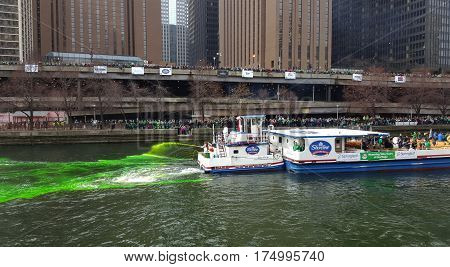 Chicago River Green on Saint Patrick's Day Dying March 12, 2016