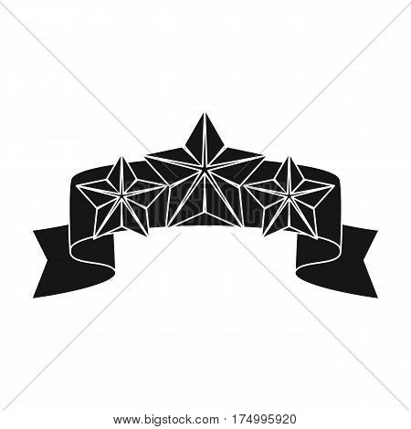 Red ribbon with three stars.Reward a police officer for detention of the criminal.Awards and trophies single icon in black style vector symbol stock web illustration.