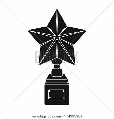 Gold prize in the shape of a star on a stand.The statue in the first place.Awards and trophies single icon in black style vector symbol stock web illustration.