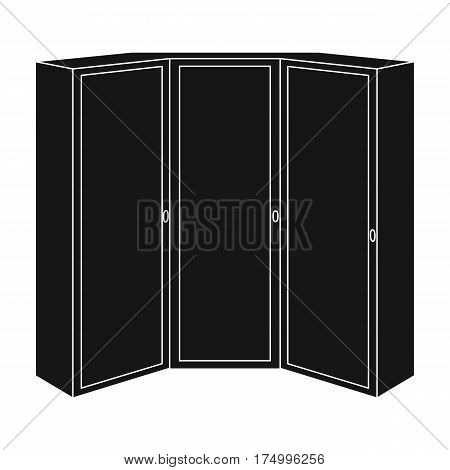Pink wardrobe with two doors and a mirror.Bedroom wardrobe.Bedroom furniture single icon in black style vector symbol stock web illustration.