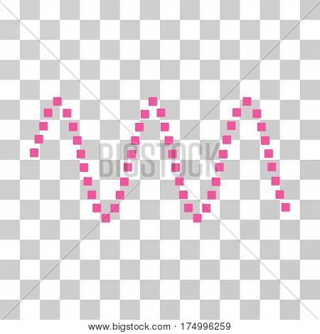 Sinusoid Waves icon. Vector illustration style is flat iconic symbol, pink color, transparent background. Designed for web and software interfaces.
