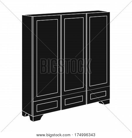 Bedroom wardrobe for clothing.Bedroom furniture for clothes.Bedroom furniture single icon in black style vector symbol stock web illustration.