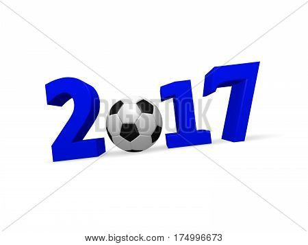 3d rendering of a soccer ball with number 2017