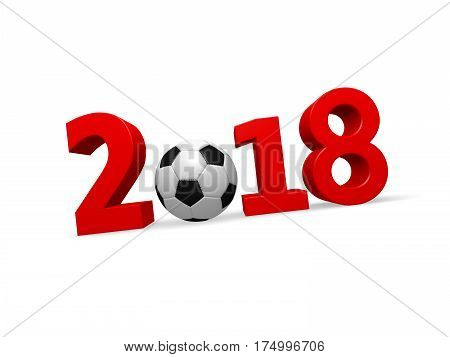 3d rendering of a soccer ball with number 2018