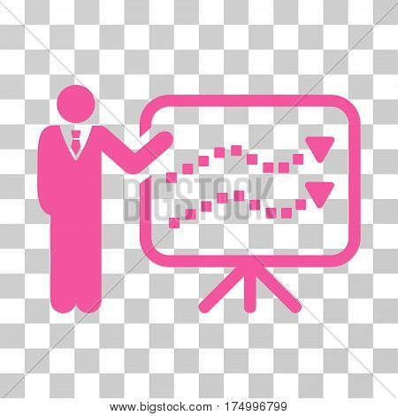 Trends Lecture icon. Vector illustration style is flat iconic symbol, pink color, transparent background. Designed for web and software interfaces.