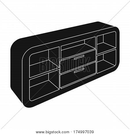 Wooden Cabinet with lockers and cupboards.TV stand.Bedroom furniture single icon in black style vector symbol stock web illustration.